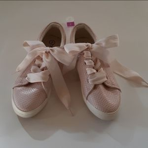 Cat andJack Pink Faux Snake Skin Lace Up Snickers